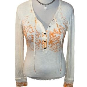 Free People Magnolia Thermal Tie Neck Henley